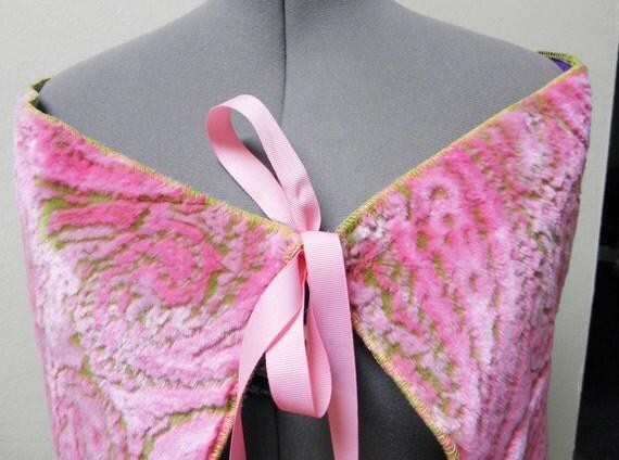Capelet - Pink and Green Fun Fur Preppy Capelet