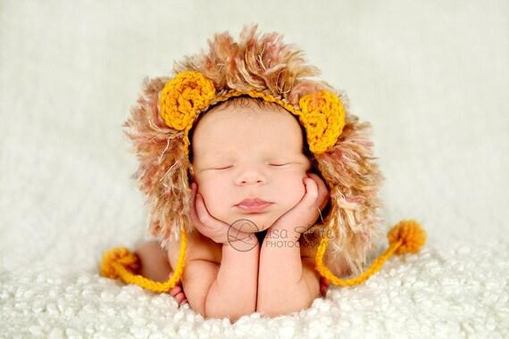 crochet newborn hat photography prop lion beanie