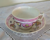 Antique Pink Luster Lustre Cup and Saucer Circa 1840 London Shape Staffordshire Lusterware Collectible