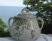 Victorian 1890 Transferware Sugar Bowl Tea Caddy Antique English Staffordshire Poppies Collectible