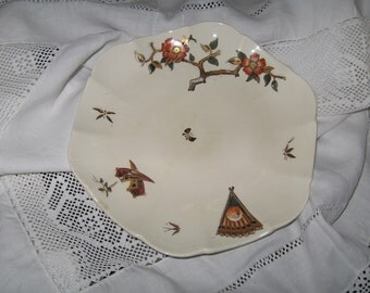 Antique Plate Late 1800s Transferware Asian Inspired Polychrome Staffordshire England Collectible George Jones