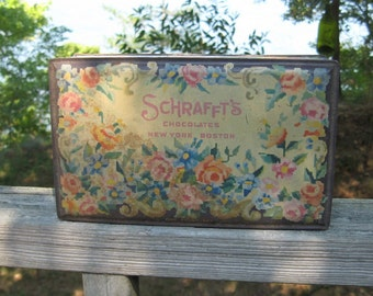 Vintage Tin Shabby Chic Roses Schraffts Chocolates New York Boston Advertising Country Cottage Collectible