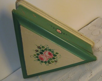 Vintage Jewelry Box Wooden Handpainted Roses Mirror Country Cottage Style Collectible