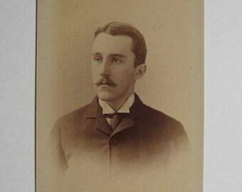 Victorian 1800s Cabinet Card Photograph Sepia Handsome Man Gilbert & Bacon Philadelphia Collectible