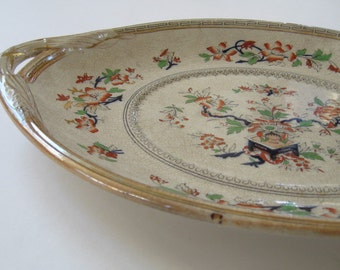 Antique Transferware Polychrome Large Platter Chinoiserie Handles Rare Staffordshire Victorian Collectible 1800s