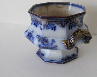 Antique 1845 Flow Blue Sugar Bowl Cachepot Ridgway Staffordshire England Collectible 1800s