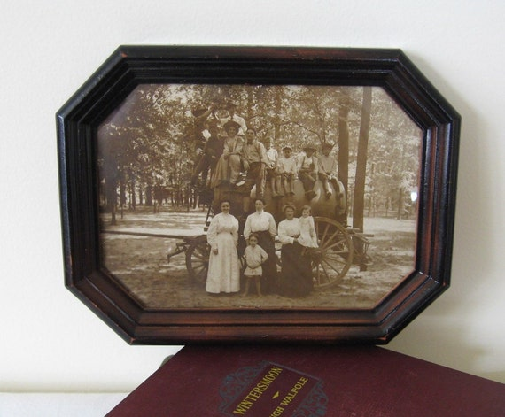 Antique Sepia Photograph Framed Family Portrait Victorian Covered Wagon Collectible Display
