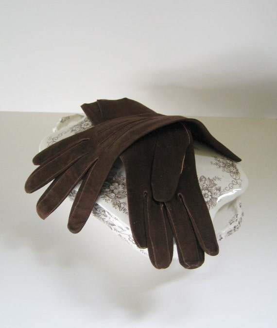 Vintage Kid Suede Leather Long Gloves Argentina Fashion Collectible