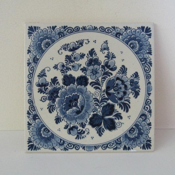 Vintage Blue And White Tile Trivet Handpainted Delft Holland