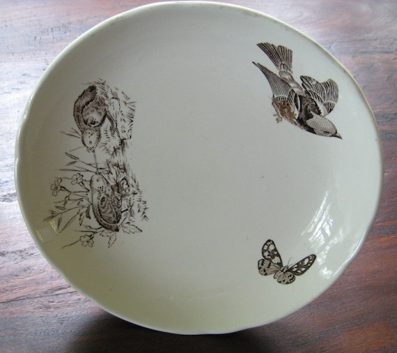 Rare Antique Transferware Comport Cakestand Aesthetic Brown Birds Butterflies Victorian Staffordshire Collectible Display