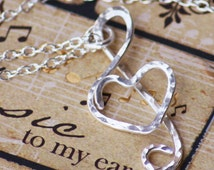 Treble Clef Heart Necklace, Sterling Silver