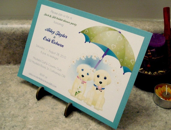 Dog Wedding Invitations: Items Similar To Jack And Jill Puppy Dog Wedding Shower