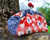 Red & Blue Ruffle Kisslock bag