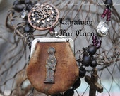 LAYAWAY for Coco- Mary's  Leather Pouch--Vintage Assemblage French Souvenir Brooch Leather Purse Rosary NECKLACE