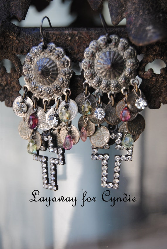 LAYAWAY for Cyndie--Rhinestone Cross and Tourmaline Briolette Vintage Assemblage EARRINGS