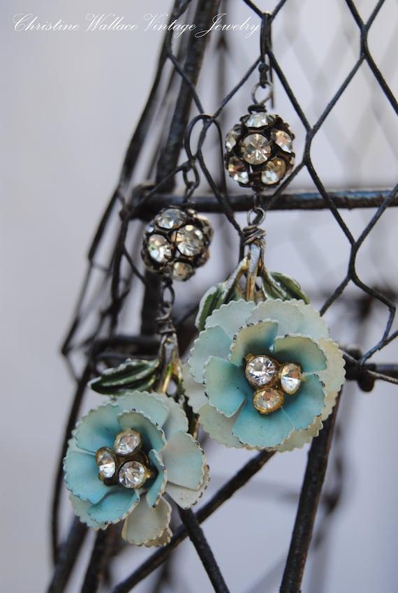 AQUA FLOWERS--Vintage Assemblage Rhinestone Enamel Flower EARRINGS