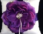 Purple Rose Ring Bearer Pillow
