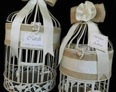 Large and Small Burlap Trimmed Birdcage Card Holders wih Ribbon Flower
