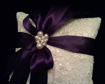 Ivory Alencon Lace Ring Bearer with Customizable Color Ribbon Choice