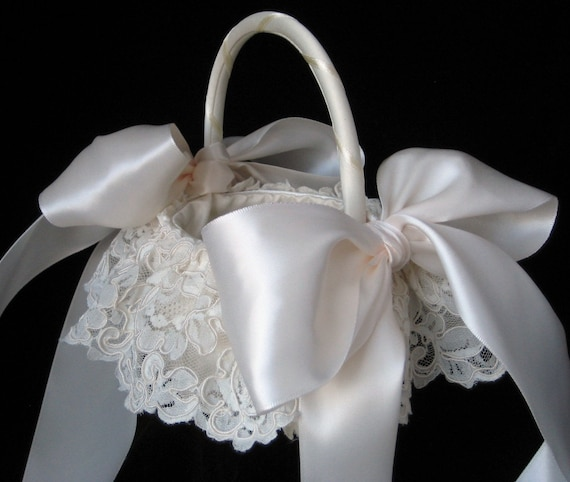 How To Make A Lace Flower Girl Basket : Items similar to ivory alencon lace flower girl basket on etsy