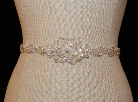 "Crystal and Lux Satin Bridal Sash ""The Joanna"""