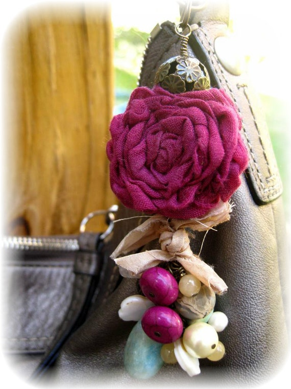 Under 25 - Purse Bag Charm - Zipper Pull - Sari Silk-  Bohemian - Pink - Free Shipping