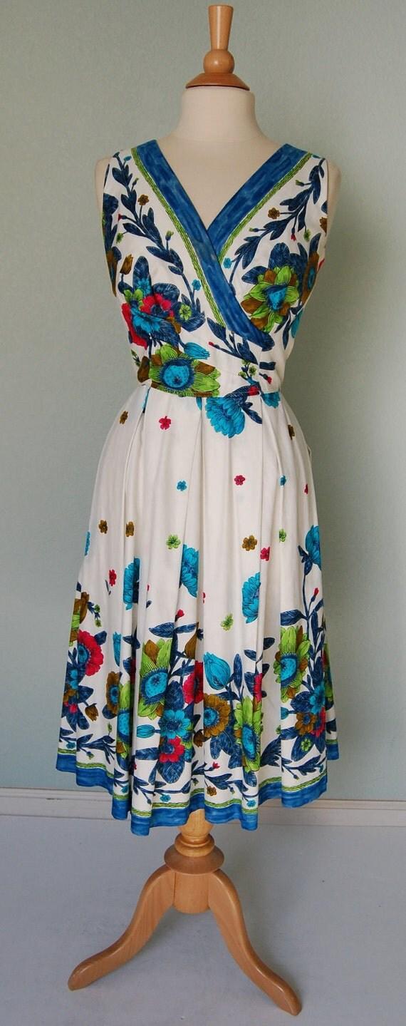 1950s Kamehameha Cotton Print Dress with Tucks and Pleats - Pretty