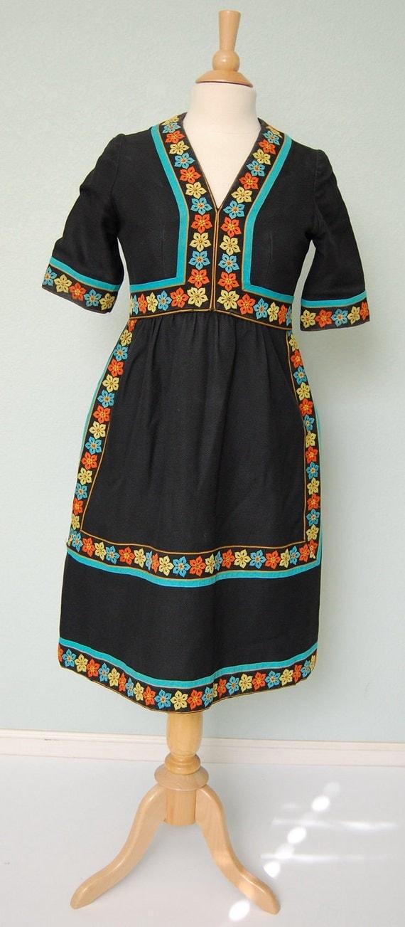 1960s de La Renta Cotton Peasant Style Dress with Trim