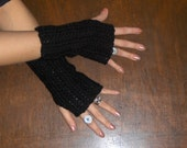 BLACK MAMBA Fingerless Gloves. Arm Warmers Handmade Crochet Texting Gloves Hand Crocheted fall autumn winter accessory Gothic Boho Raven