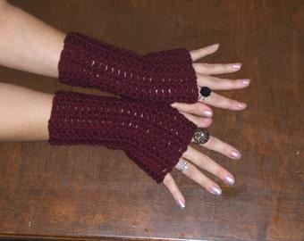 The Garnet Red Fingerless bohochic Gloves.  Handmade crochet Arm Warmers  Deep Blood Red Dracula Burlesque Victorian Handmade Crocheted