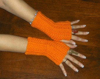Pumpkin Pie Crochet Fingerless Gloves Autumn Handmade Arm Warmers Fingerless bohochic folk autumn Gloves Mid length arm warmer made to order