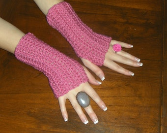 Light Raspberry Boho Fingerless Texting Gloves Crochet Arm Warmers Fingerless Mittens Texting Gloves Handmade Crocheted Simple Hand Warmers