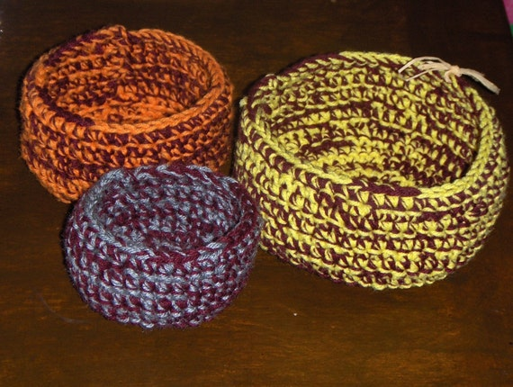 Harvest Collection Rustic Earthy homespun Handmade Crochet Harvest Nesting Bowls. Set of 3. Cabin Lodge home decor trinket bowls fall autumn