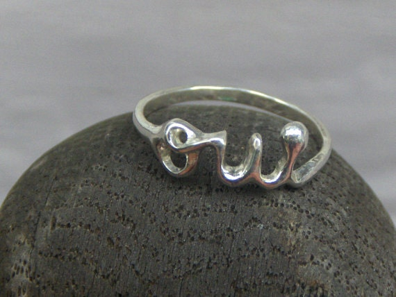 Sterling Silver Oui Ring Handmade Solid silver ring Made to order ANY size Lost wax cast metal Paris word letters ring statement ring boho