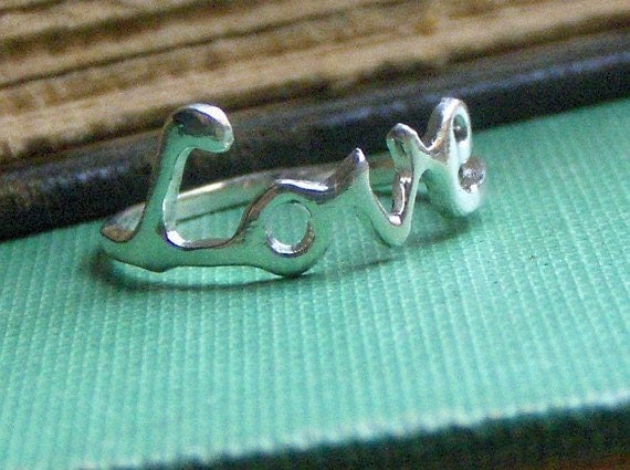 Sterling Silver Love Ring Handmade Lost wax cast made to order