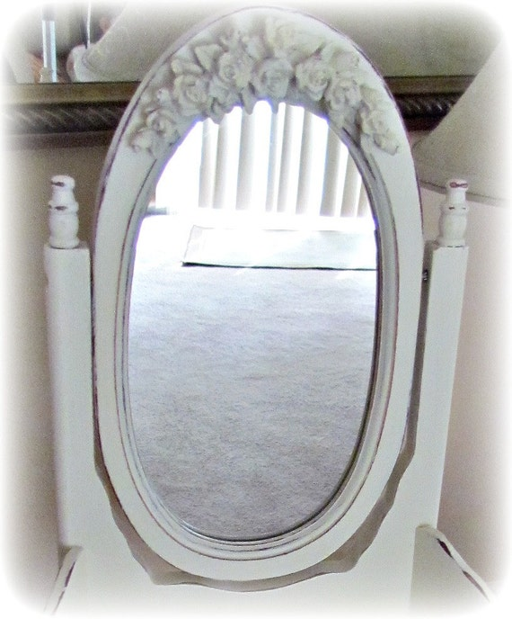 Vintage Style Shabby French Chic Mini Vanity with Swinging Mirror and Barbola Roses