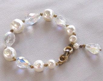 Vintage Bracelet, Crystals, Pearls
