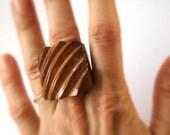 Bold Stripe Piassava Coconut Ring Size 7