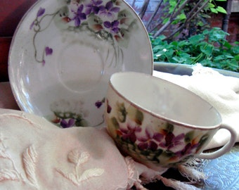 Vintage Bone China Tea Cup Hand Painted with Violets