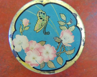 Tindeco Litho Turquoise Flower and Butterfly Tin