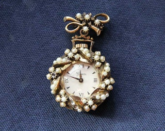 Valentines Day Sale - Mid-Century Florenza Pearl Pendant Watch