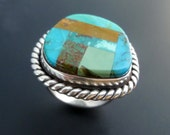 Sterling Silver Ring - Turquoise Mosaic Ring - Handmade Silver Ring with Turquoise Inlay - Ring Size 9