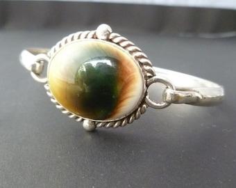 Sterling Silver Bangle with Shiva Eye Shell - Handmade Sterling Shell Bracelet - Custom Made Shiva Eye Bracelet