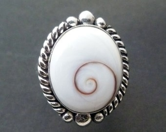 Silver Shiva Eye Ring - Handmade Silver Ring - White Spiral Ring - Custom Made Sterling Shell Statement Ring