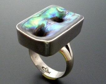 Sterling Silver Shell Ring - Handmade Silver and Abalone Ring - Paua Shell Ring - Custom Made Ring