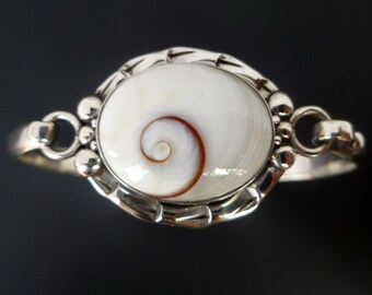 Sterling Silver Shiva Eye Shell Bangle - Handmade Original Silver Bracelet with Cats Eye - Custom Made Sterling Silver White Shell Bracelet