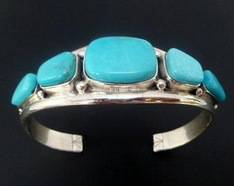 Sterling Silver Turquoise Cuff - Handmade Sterling Silver Turquoise Bracelet - Turquoise Statement Bangle - Custom Made Cuff