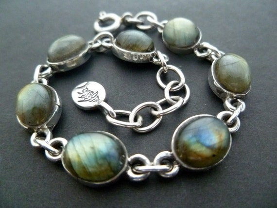 Sterling Silver and Labrodorite Handmade  Link Bracelet - Silver Link Bracelet with Labrodorite