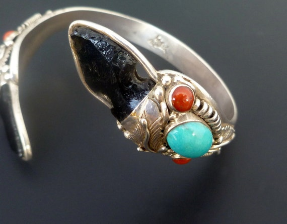 Handmade Obsidian Red Coral and Turquoise Sterling Silver Bracelet - OOAK Sterling Silver Arrowhead Bangle