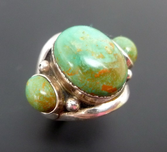 Handmade Silver and Turquoise Statement Ring - Sterling Silver Ring - Custom Made